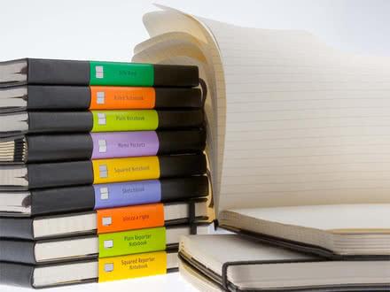 Auswahl der Adressbücher, Notizbücher und Notizblöcke von Moleskine