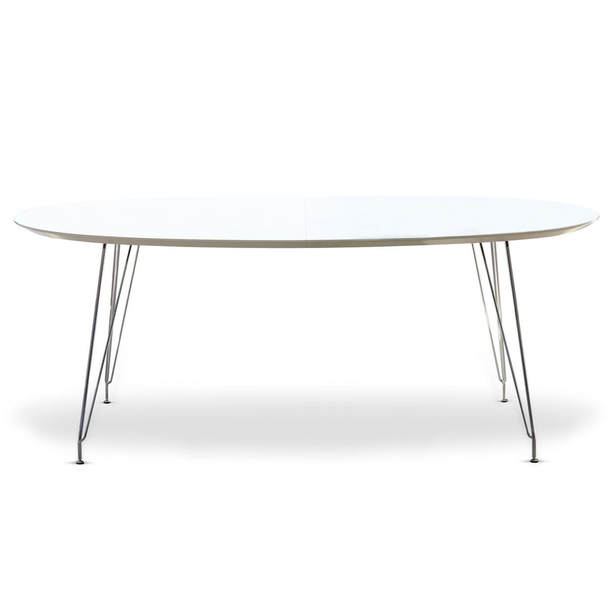 DK10 Esstisch Oval Von Andersen Furniture (Tischplatte Laminat, Weiß,  Gestell Edelstahl Verchromt)