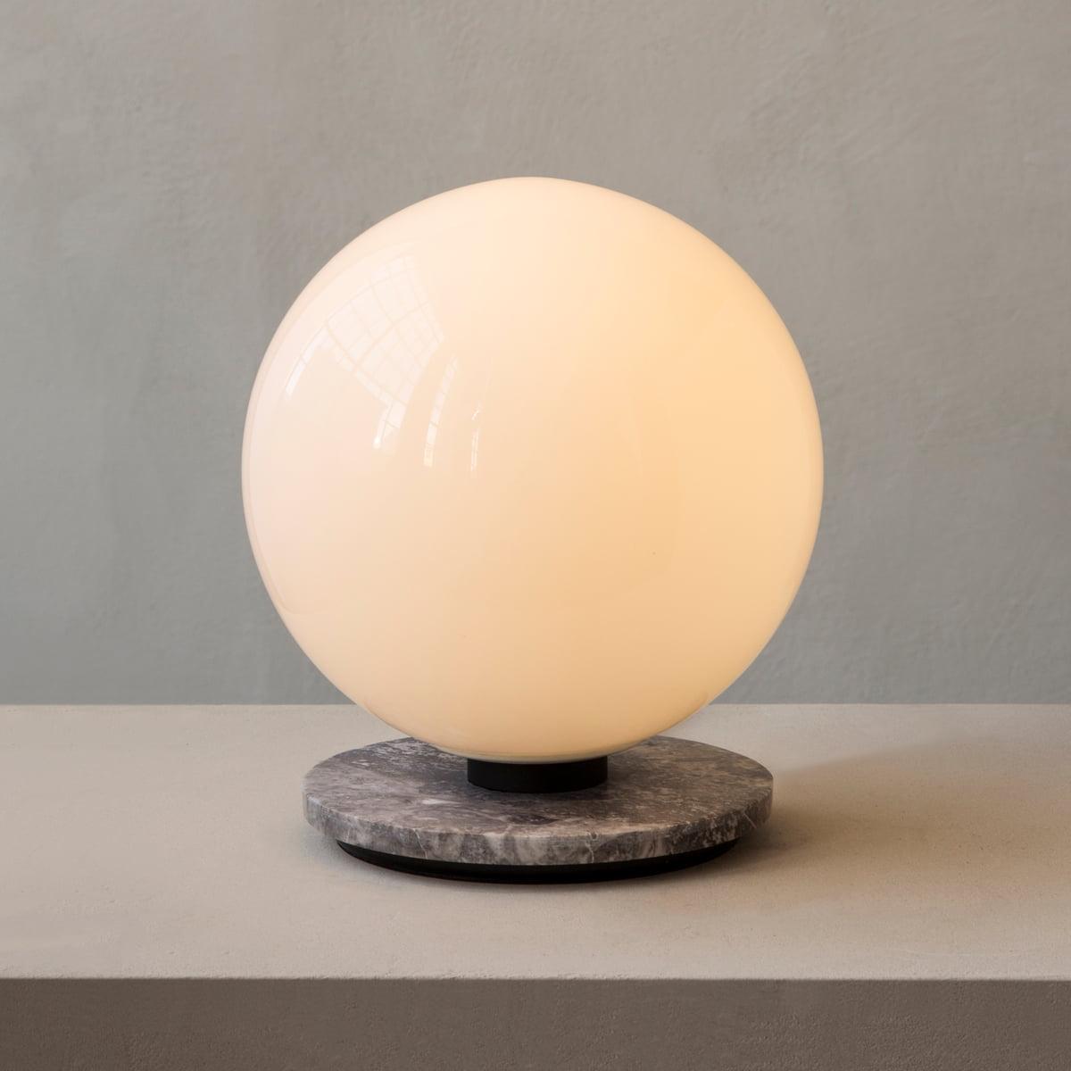 Menu TR Tisch und Wandleuchte, Marmor grau Leuchtmittel shiny opal