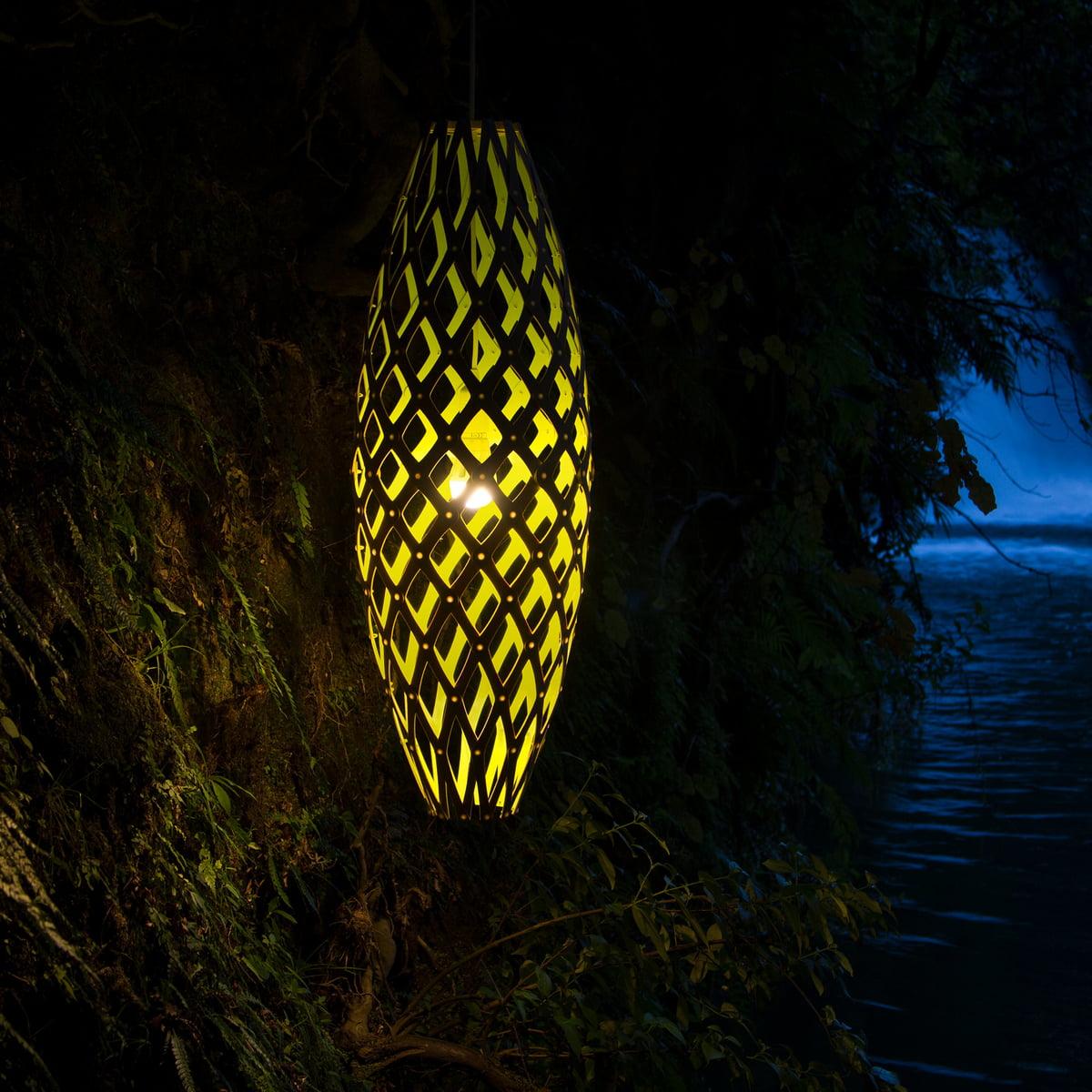 David Trubridge Hinaki Pendelleuchte, Ø 32 cm, beidseitig natur
