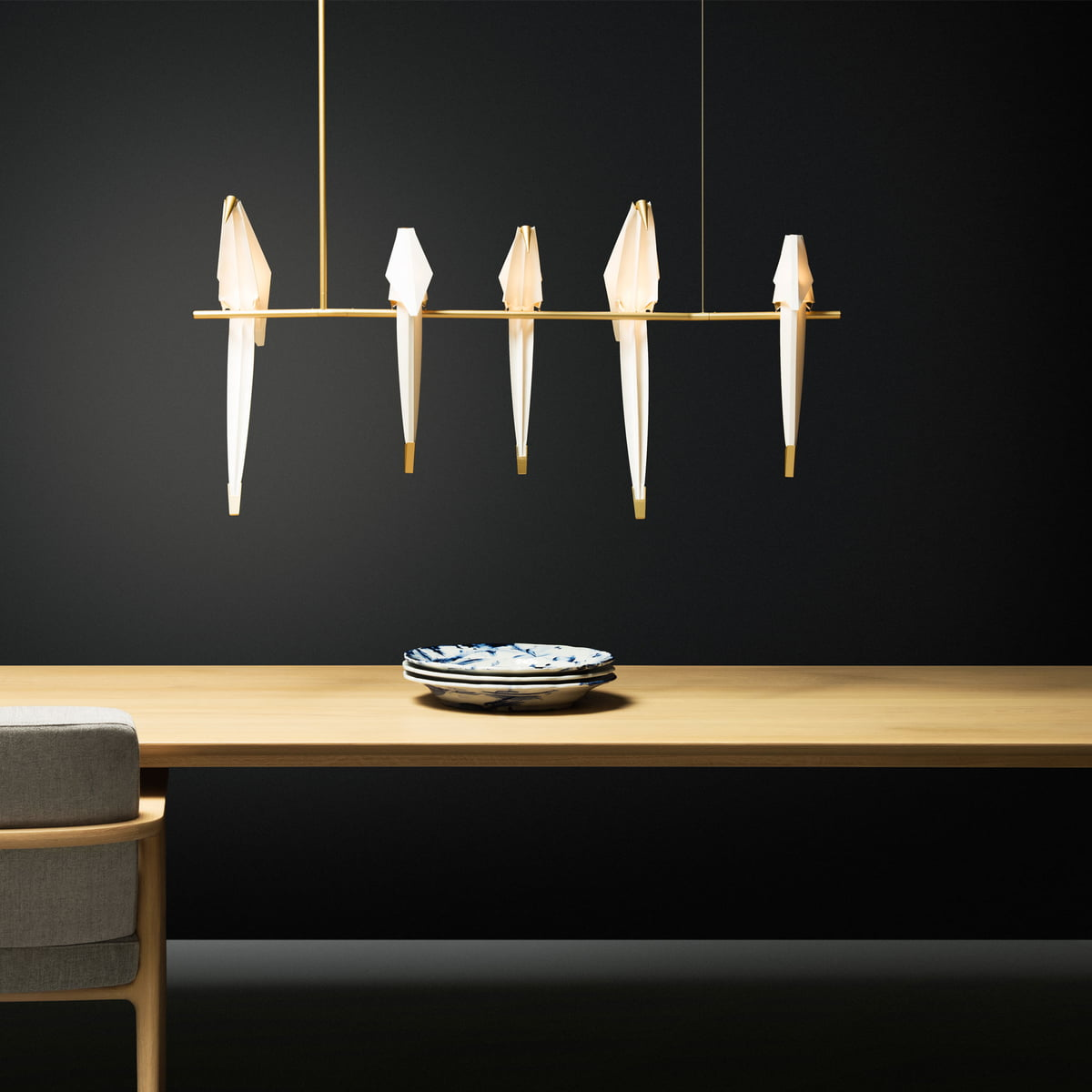 Moooi Perch Light Branch LED Pendelleuchte, Messing weiß