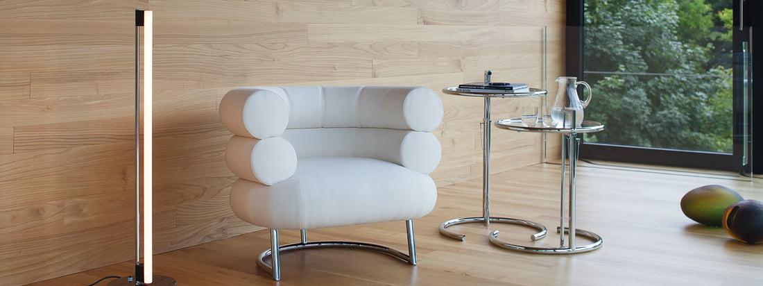 Die Marke ClassiCon stellt Möbel und Leuchten her. Der Adjustable Table, der Bibendum Sessel und die Tube Light LED Stehleuchte erscheinen in edler Optik.