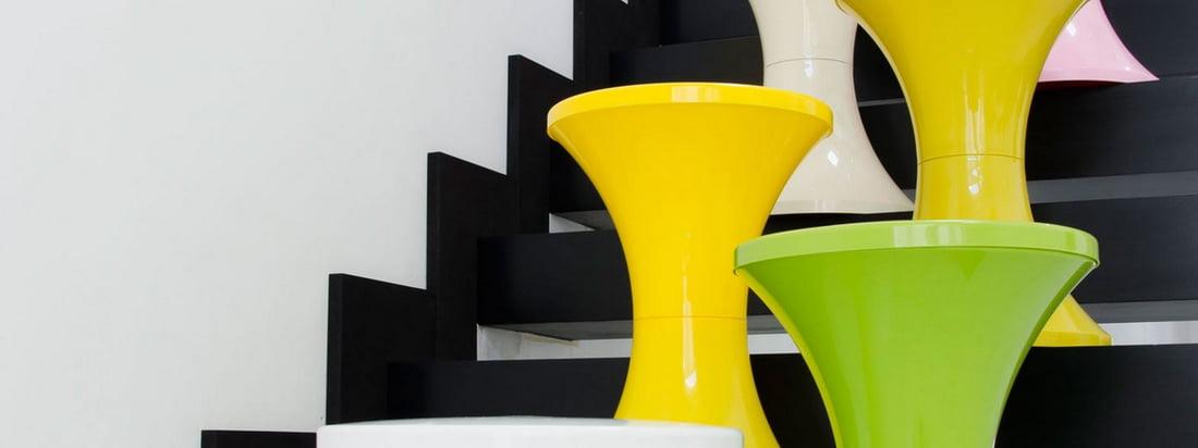 Das französische Unternehmen Branex Design stellt den kultigen Tam Tam Hocker in verschiedenen leuchtenden Farben her. Hier im Design-Shop erhältlich!
