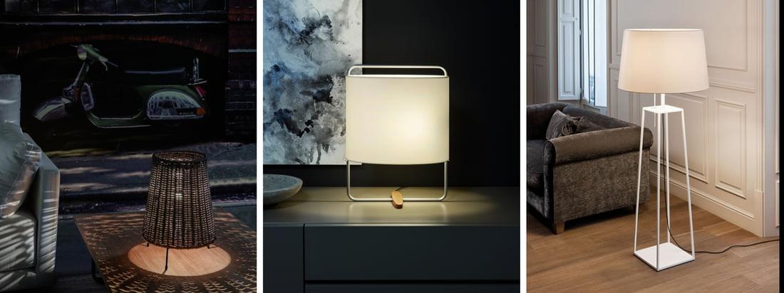 Carpyen ist ein spanischer Leuchtenhersteller. Die Totora Bodenleuchte ist mit einem roten Lampenschirm erhältlich, der vor einer dunklen Wand eine unheimliche Stimmung erzeugt.