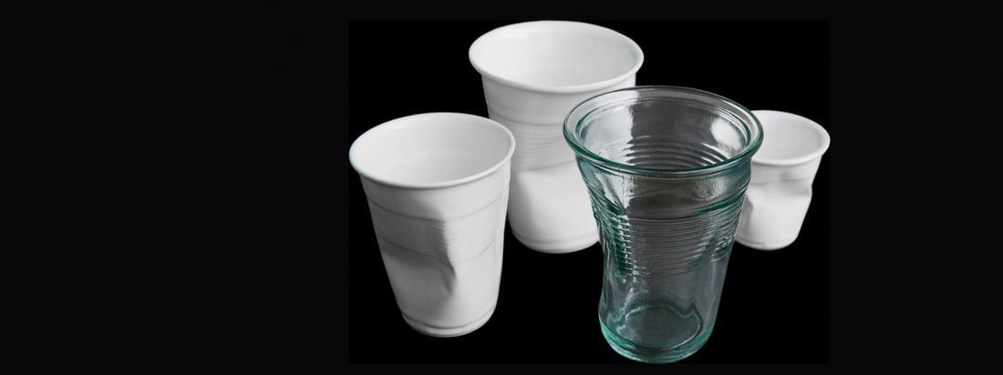 Details ist ein deutsches Design-Unternehmen. Das Knickglas und der Knickbecher verblüffen mit ihrer außergewöhnlichen Optik, inspiriert von zerdrückten Trinkbechern.