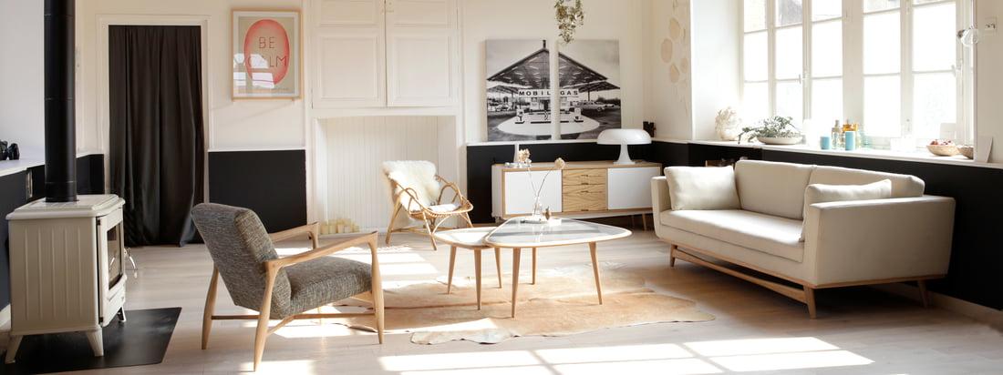 Gestalten Sie Ihr Wohnzimmer mit Sofa, Sessel, Couchtisch und Sideboard. Finden Sie tolle Einrichtungsideen für Ihre Wohnzimmergestaltung bei uns im Shop!