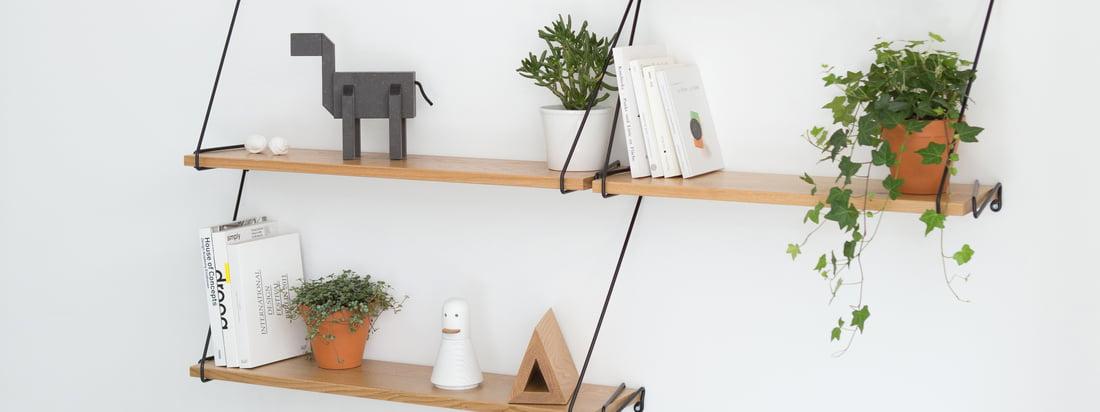 Auf dem Wire Regalsystem aus Eichenholz und Metallbügeln können Dekofiguren wie Kubi, Bücher, Blumen und andere Andenken und Accessoires in Szene gesetzt werden.