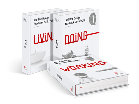 """Das Red Dot Design Jahrbuch-Set besteht aus den Bänden """"Living"""", """"Doing"""" und """"Working"""". Sie sind ein Muss für alle, die hinsichtlich des aktuellsten Trends auf dem Laufenden bleiben wollen."""