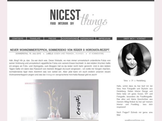 """Auf """"Nicest Things"""" berichtet Vera neben Interior-Design und Deko über Essen, Fotografie und DIY. Das alles und kleine Geschichten aus ihrem Alltag findest du auf ihrem Blog."""