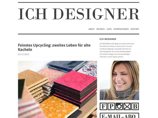 """Auf """"Ich Designer"""" berichtet Kristina über Interior-Design, DIY und Recyclingdesign."""