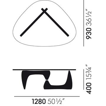 Technische Zeichnung mit Abmessungen des Vitra Coffee Tables