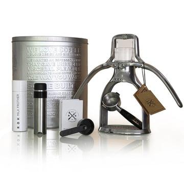 ROK - Espressomaschine mit Edelstahl-Milchschäumer und Metalldose