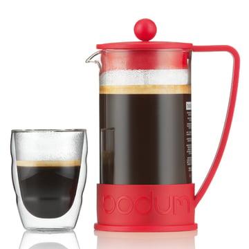 Bodum - Brazil Kaffeebereiter, 1,0 L, rot - mit Glas