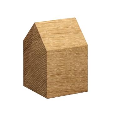 e15 - AC10 Haus Briefbeschwerer aus Eiche mit Satteldach in klein