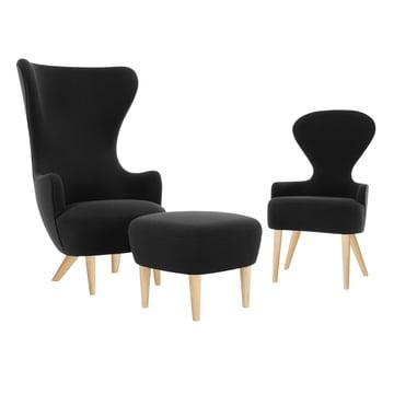 Wingback Chair mit Dining Chair und Ottoman von Tom Dixon aus Eiche mit Polstern in Schwarz