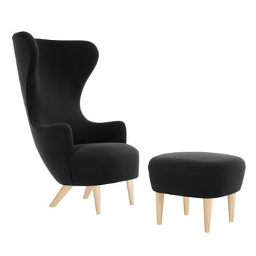Wingback Chair mit Ottoman von Tom Dixon aus Eiche mit Polstern in Schwarz