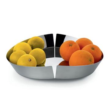 Broken Bowl Obstschale von Alessi in Edelstahl poliert mit Früchten