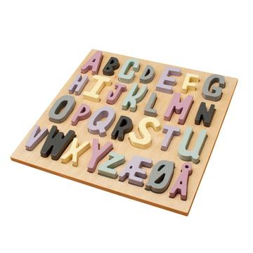 Hölzernes Puzzle ABC von Sebra in Rosatönen