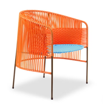 ames - caribe Lounge Chair, orange / türkis / braun
