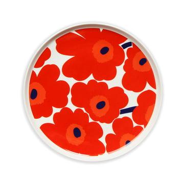 Oiva Unikko Teller Ø 25 cm von Marimekko in Weiß / Rot