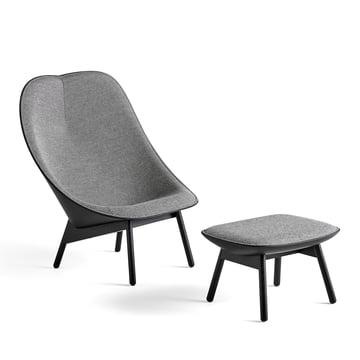 Uchiwa Sessel von Hay in Eiche schwarz gebeizt und Grau mit Hocker