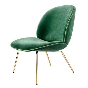 Beetle Lounge Chair Conic Base Messing von Gubi in Samt (Grün)