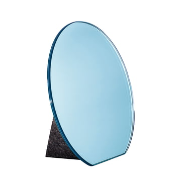 Pulpo - Dita Tischspiegel Ø 30 cm, hellblau / Standfuß schwarz