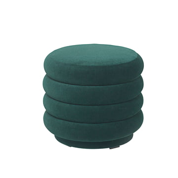 ferm Living - Pouf Round, Ø 42 x H 40 cm, dunkelgrün