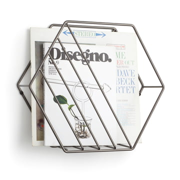 Der Umbra - Zina Zeitschriftenhalter in titan mit Zeitungen