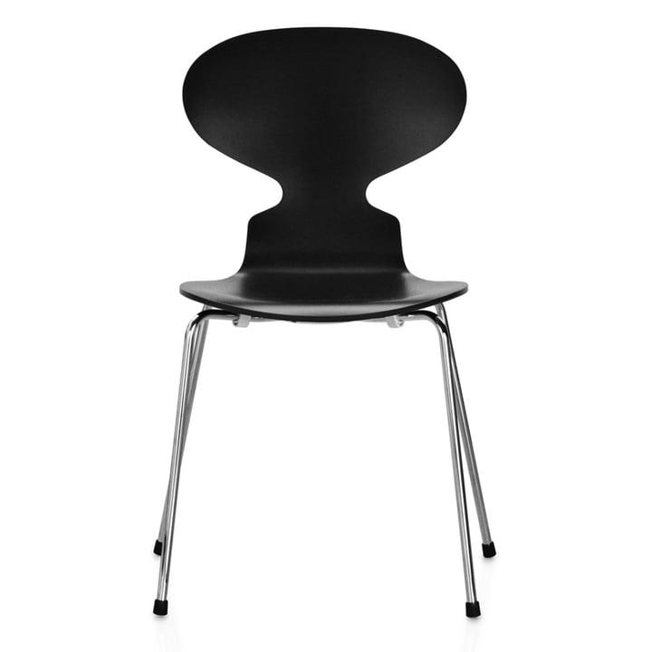Die Ameise Stuhl (4 Beine / 46,5 cm) von Fritz Hansen in Esche schwarz gefärbt / verchromt