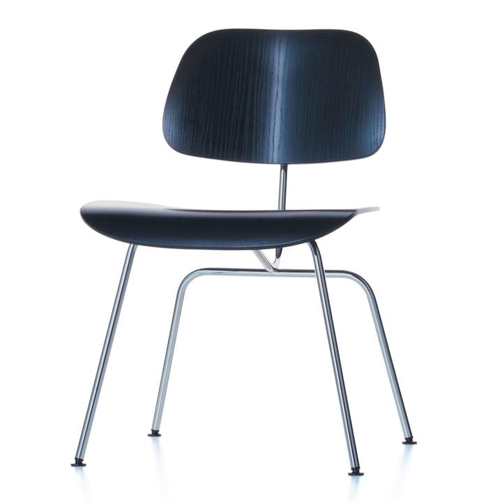 Der Vitra Plywood Group DCM Stuhl in Esche schwarz / Edelstahl