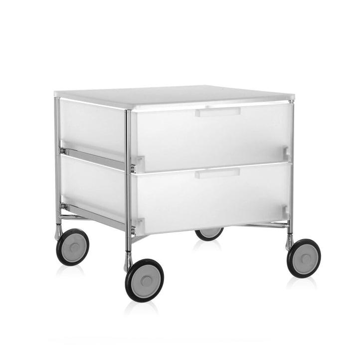 Kartell - Mobil Container - mit Rollen, 2 Schubladen, eisfarben