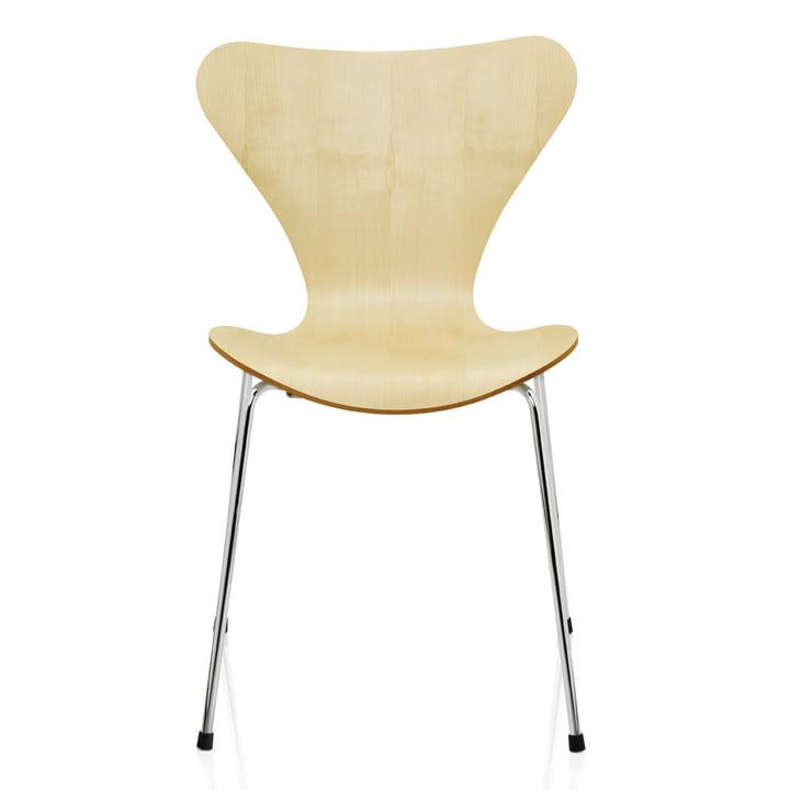 Serie 7 Stuhl (46,5 cm) von Fritz Hansen in Ahorn Natur / verchromt