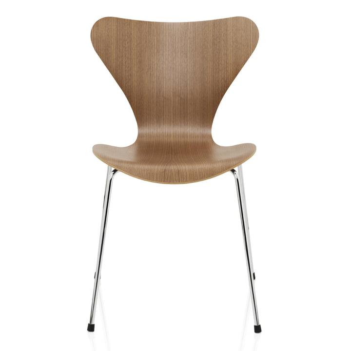 Serie 7 Stuhl (46,5 cm) von Fritz Hansen in Walnuss Natur / verchromt