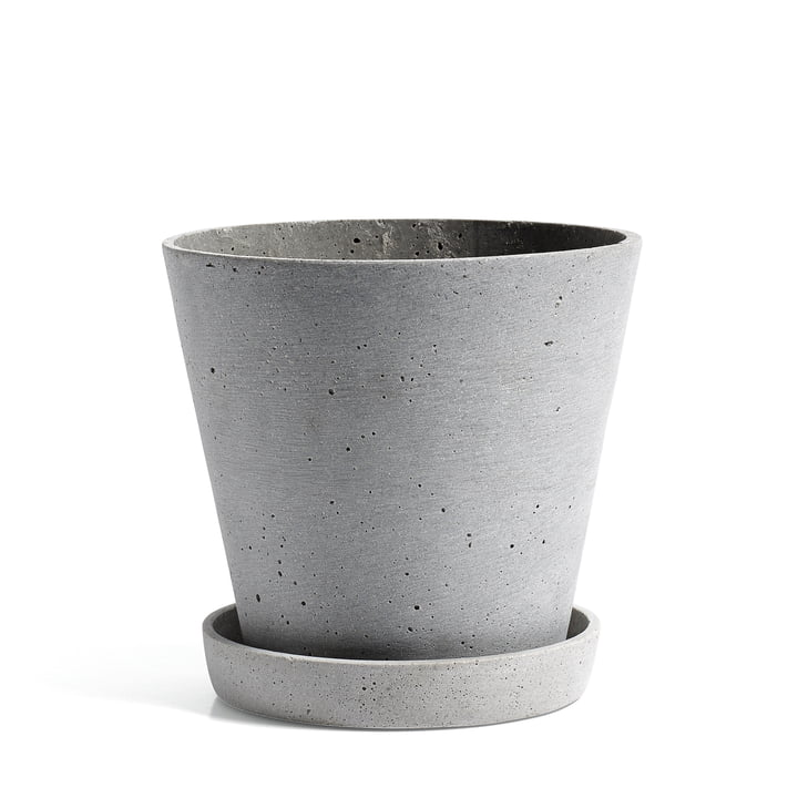 Der Hay - Flowerpot with Saucer in L, grau
