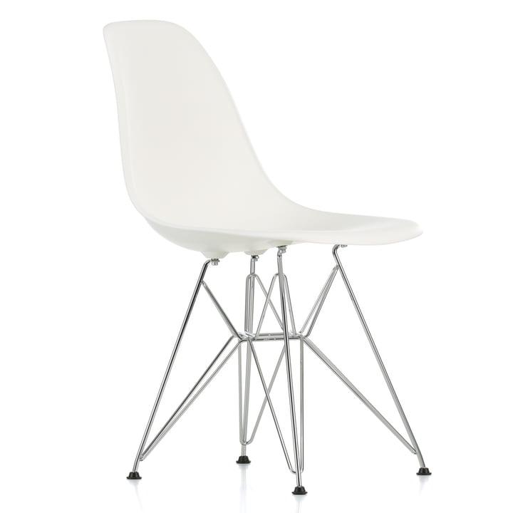 Vitra - Eames Plastic Side Chair DSR, verchromt / weiß, Filzgleiter schwarz