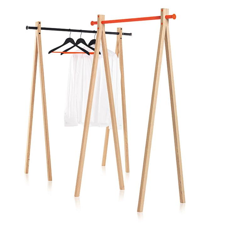 Nomess - Dress-Up Garderobenständer, Esche, schwarz / orange, 90