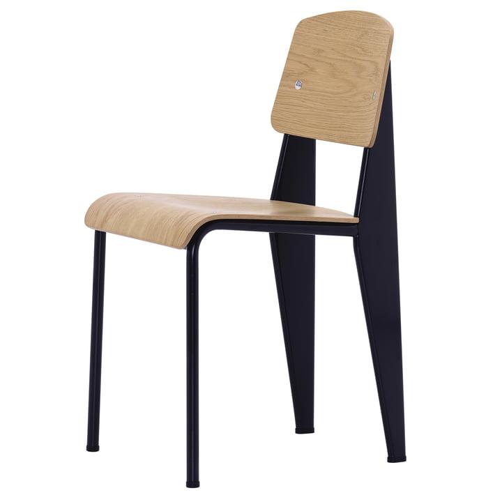 Vitra - Standard Stuhl, Eiche natur / tiefschwarz, Filzgleiter