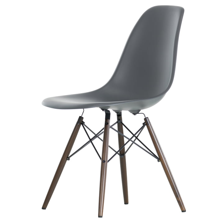 Vitra - Eames Plastic Side Chair DSW, Ahorn dunkel / basalt