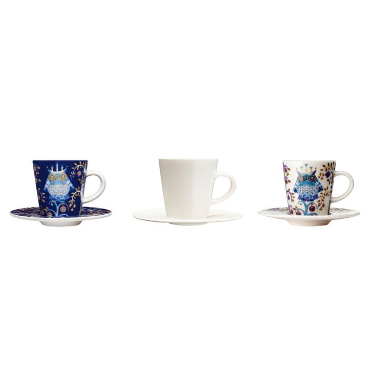 Taika Espressotassen mit Untertasse von Iittala in Weiß und Blau