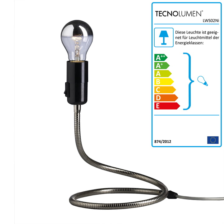 Tecnolumen - Lightworm Tischleuchte, vernickelt