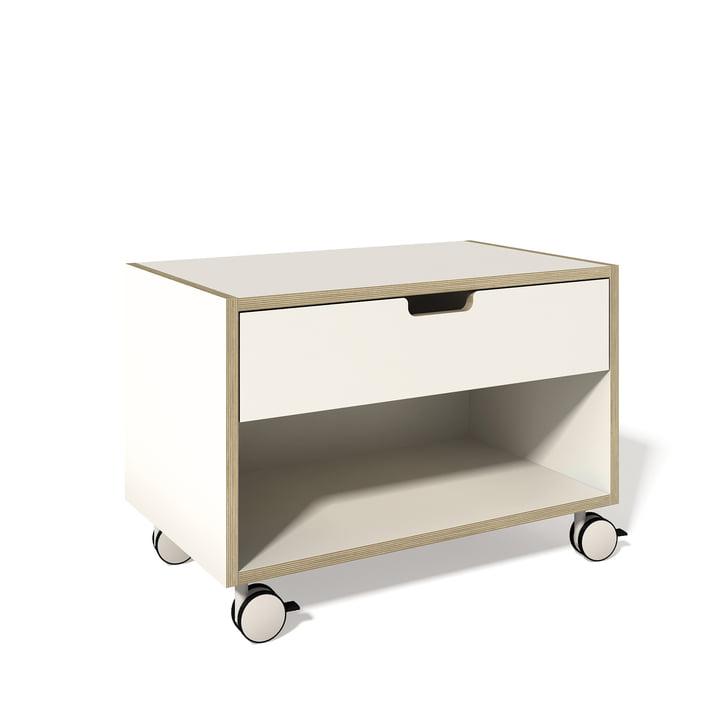 Nachttischschrank von Müller Möbelwerkstätten in Weiß mit Multiplexkante