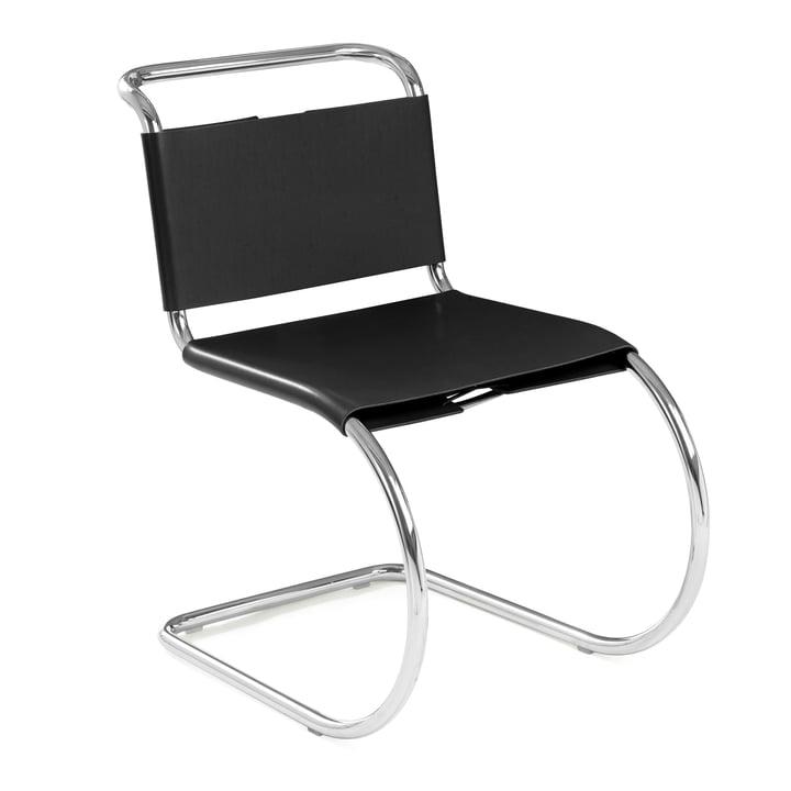 Knoll - MR Beistellstuhl ohne Armlehnen, Rindkernleder schwarz