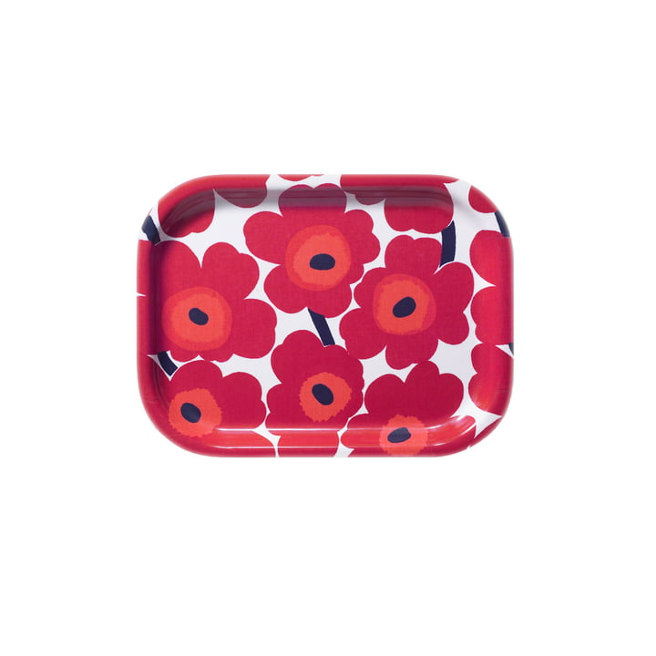 Marimekko - Mini-Unikko Tablett 27 x 20 cm, weiß / rot
