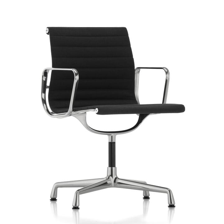 EA 103 Bürostuhl poliert / Hopsack nero, Filzgleiter (für harte Böden) von Vitra