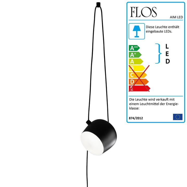Flos - AIM LED-Pendelleuchte mit Stecker Cable + Plug, schwarz