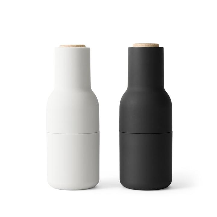 Bottle Salz- und Pfeffermühlen Set von Menu in Ash / Carbon (Holzdeckel)