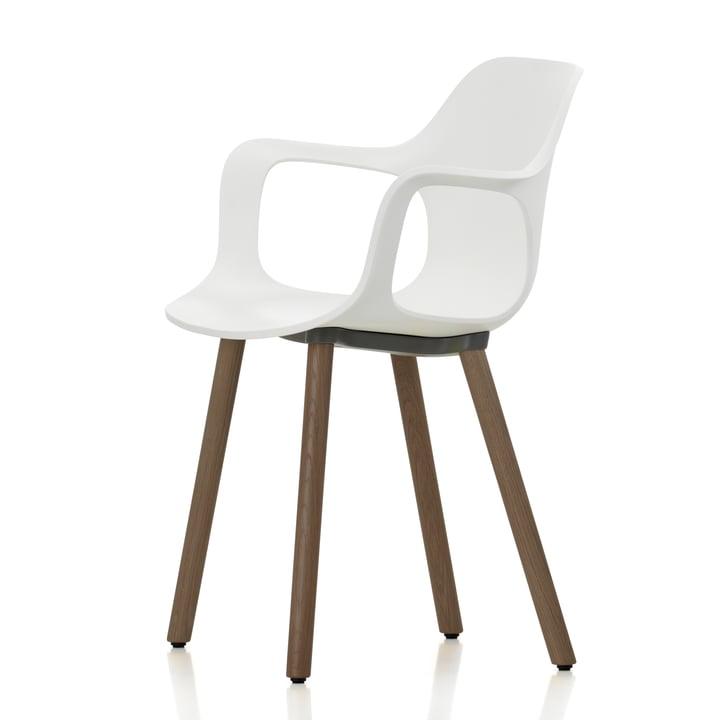 Hal Wood Armlehnstuhl von Vitra in weiß aus Nussbaum mit Filzgleitern (weiß)