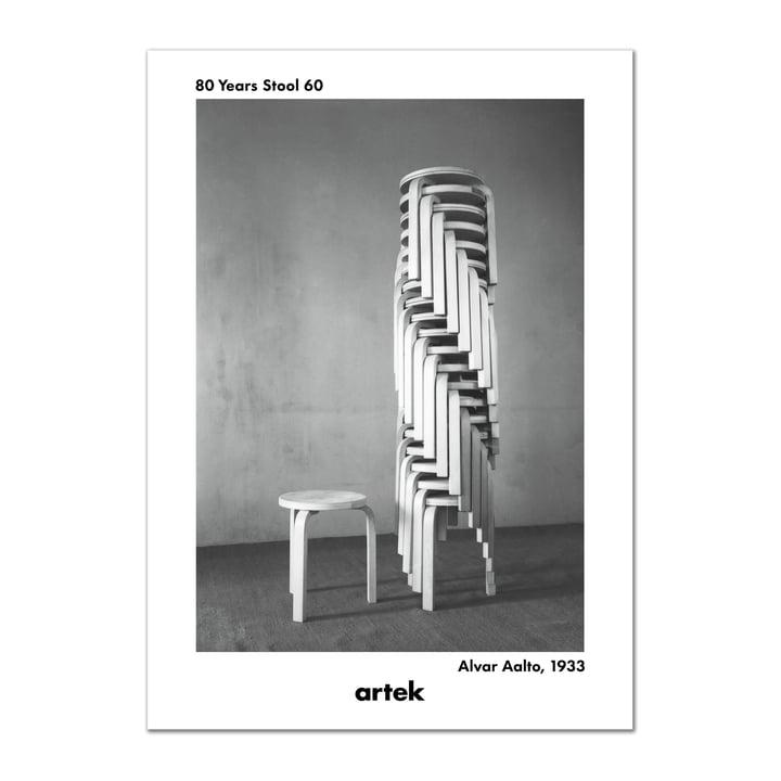 Artek - 80 Years Stool 60 Poster, Greige