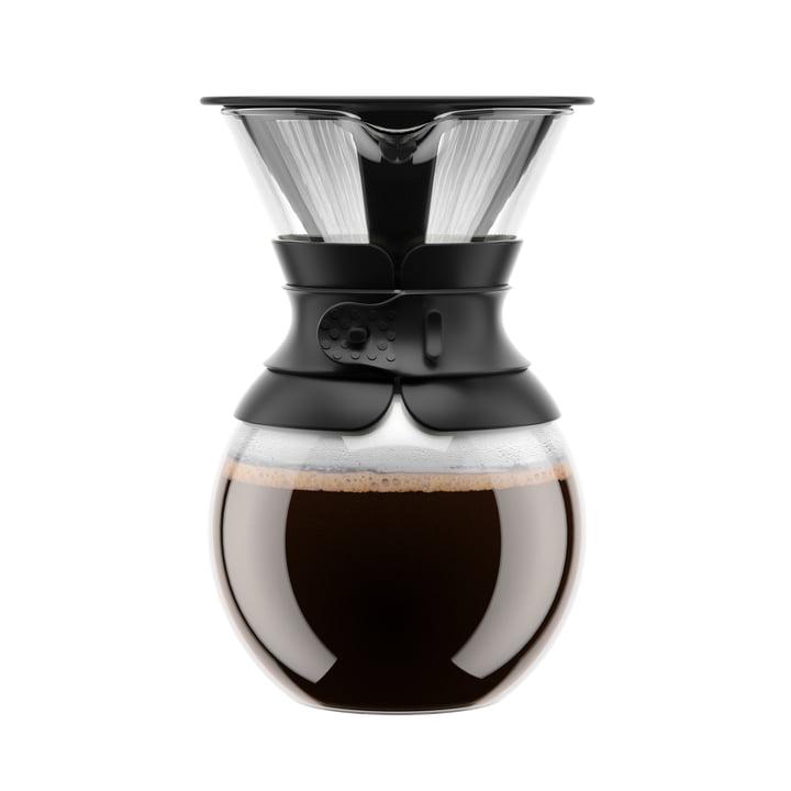 Pour Over Kaffeebereiter mit Permanentfilter 1 l von Bodum in Schwarz
